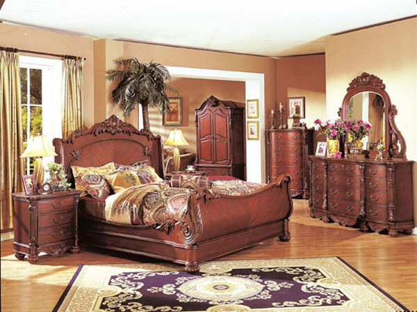 6 piece providence bedroom set in cherry finish by acme 9550