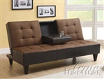 Kei Chocolate Microfiber & Espresso Bycast Adjustable Sofa Bed by Acme - 15296