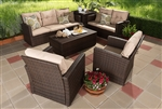 Springville 6-piece Brown Wicker Outdoor Seating Set by Baxton Studio - BAX-PAS-1503