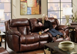 Eclipse Gliding Reclining Console Loveseat in Cognac Leather-Like Fabric Upholstery by Catnapper - 1289-6