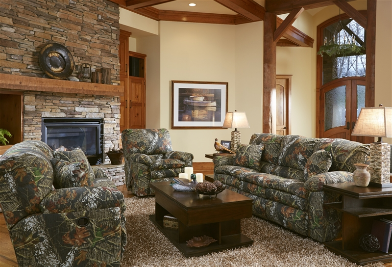 Trapper Reclining Sofa in Mossy Oak or Realtree Camouflage Fabric ...