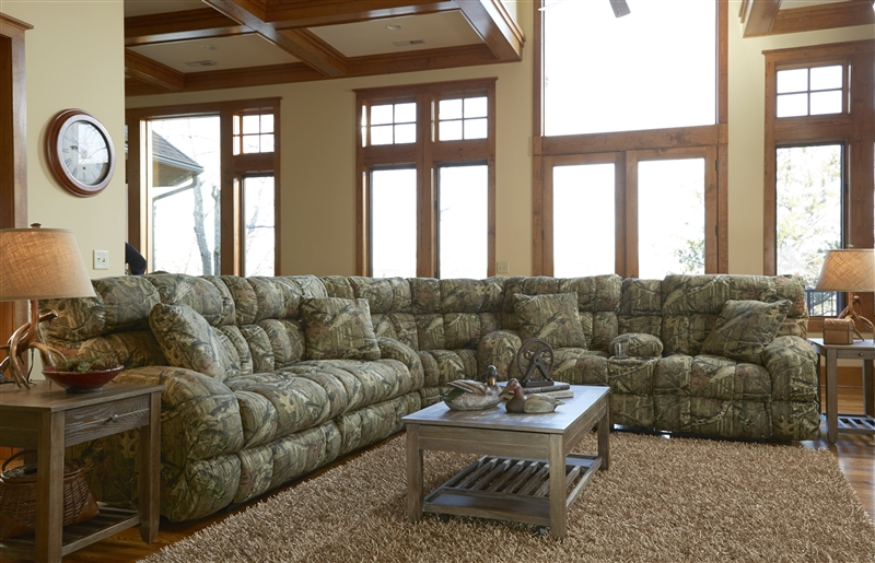 Appalachian 3 Piece Reclining Sectional In Mossy Oak Or Realtree Camouflage Fabric By Catnapper