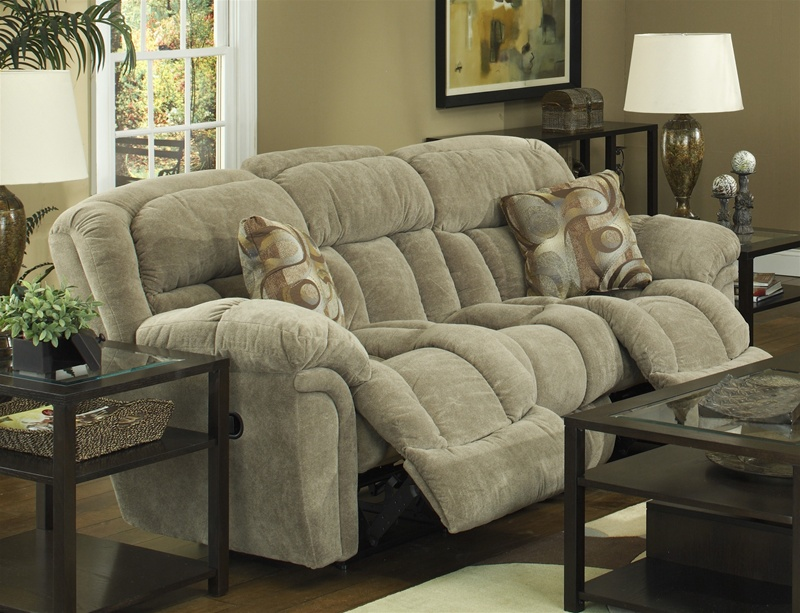 Tundra Reclining Sofa In Sage Fabric Upholstery By