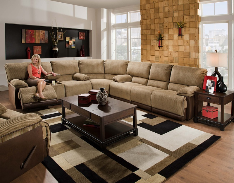 clayton 3 piece reclining sectional in twotoned cover by catnapper 134 - 3 Piece Sectional Sofa