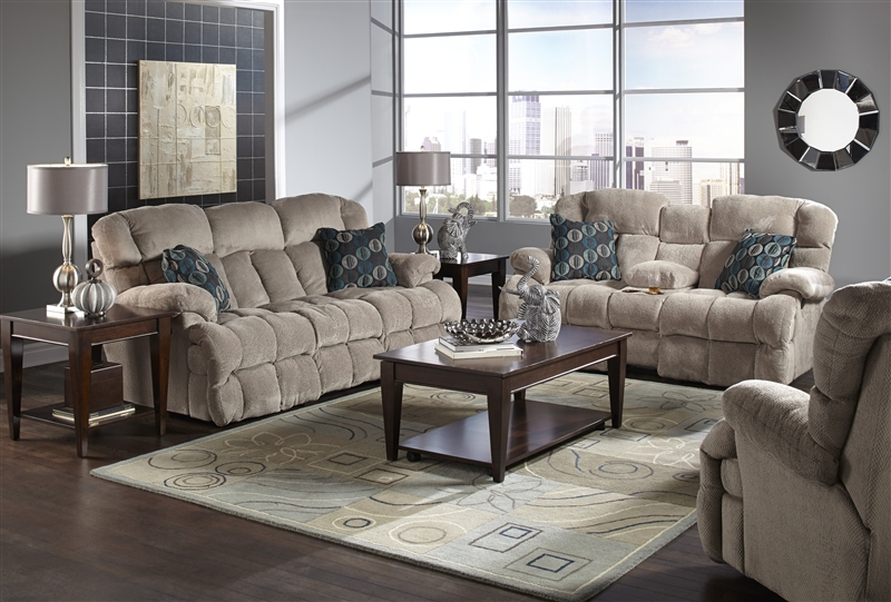 Concord 2 Piece Lay Flat Reclining Sofa Set in Smoke Color
