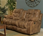 Watson Reclining Console Loveseat in Coal, Almond, or Burgundy Fabric by Catnapper - 1529