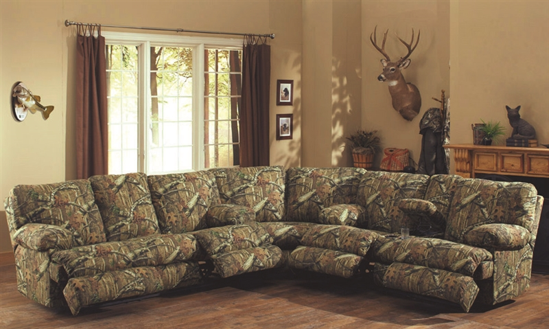 Wintergreen Reclining Sofa In Mossy Oak Camouflage Fabric By Catnapper 1701
