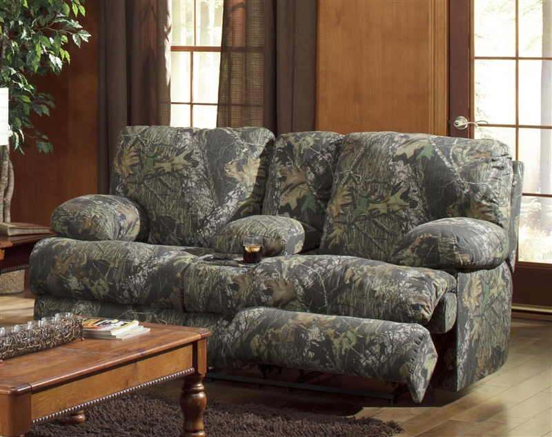 Wintergreen Reclining Console Loveseat In Mossy Oak Camouflage Fabric By Catnapper 1709