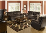 Escalade 2 Piece Reclining Set in Chocolate/Walnut Two Tone Fabric by Catnapper - 1711-2