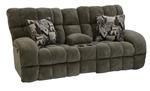 "Siesta Lay Flat Reclining Console Loveseat in ""Porcini"" Color Fabric by Catnapper - 1769-P"