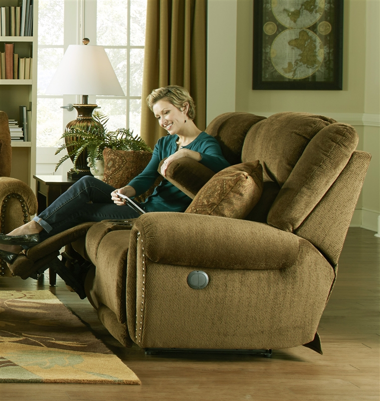 Stafford Lay Flat Reclining Loveseat in \ Caramel\  Color Fabric by Catnapper - 1779 & Stafford Lay Flat Reclining Loveseat in \