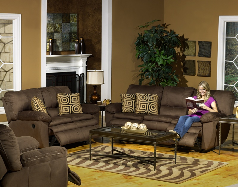 durango 2 piece reclining sofa set in cocoa color fabric by catnapper 1841s
