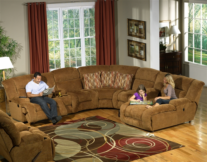 Enterprise 4 Piece Reclining Sectional in Camel Chenille Fabric by Catnapper - 185 : 2 piece reclining sectional - Sectionals, Sofas & Couches