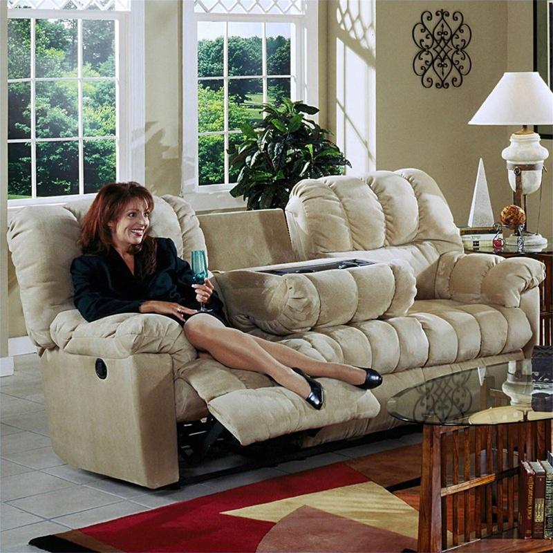 Cuddler Hazelnut Suede Cloth Reclining Sofa By Catnapper