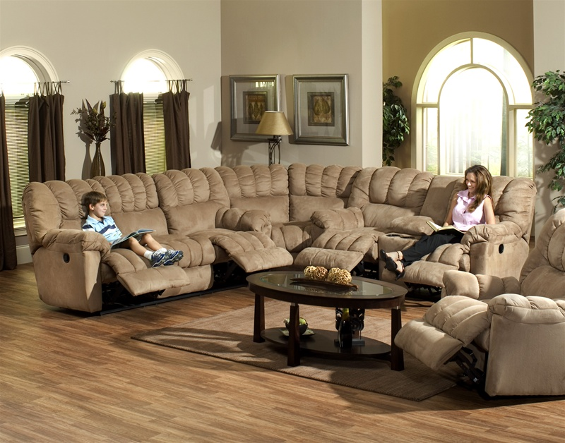 Cuddler 3 Piece Saddle Suede Cloth Sectional By Catnapper