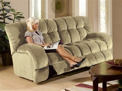 Softie Reclining Sofa in Putty Suede Fabric by Catnapper - 3741-P