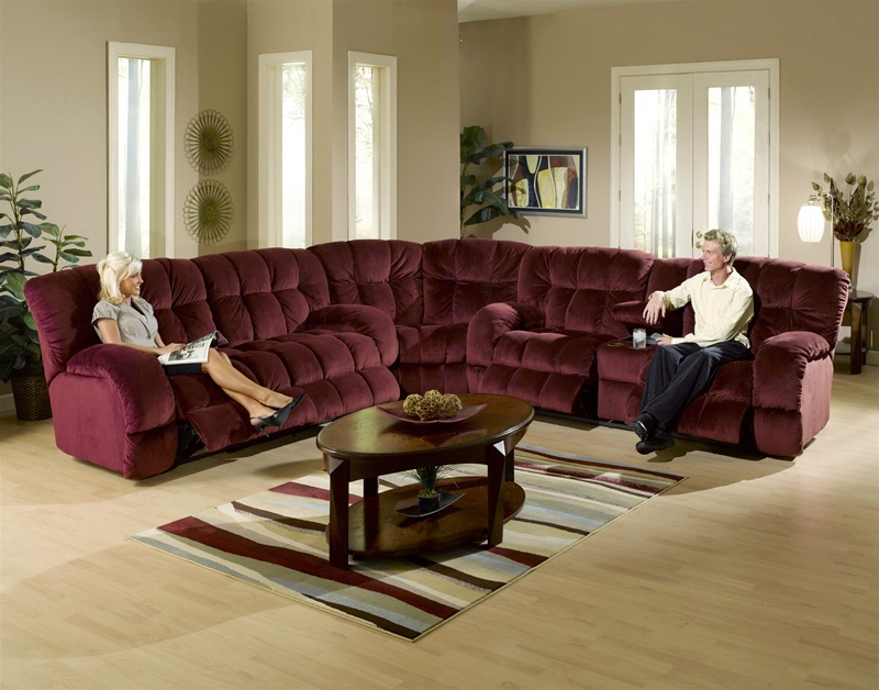 Softie 3 Piece Reclining Sectional in Bordeaux Suede Fabric by Catnapper - 3741-SEC-B : catnapper sectionals - Sectionals, Sofas & Couches