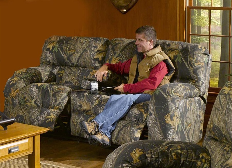Lodge Console Reclining Love Seat In Camouflage Cover By
