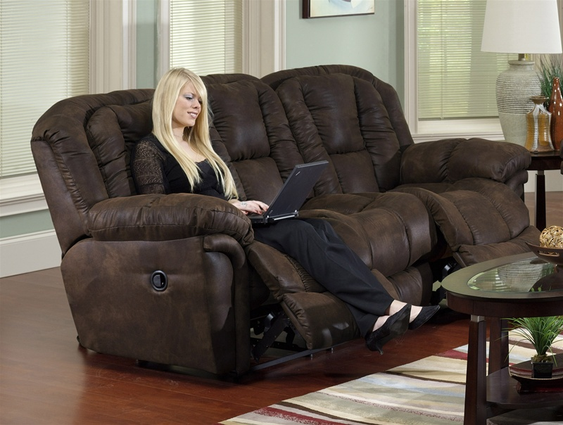 Contour Manual Dual Reclining Sofa In Chocolate Fabric Cover By Catnapper 3921 Choc
