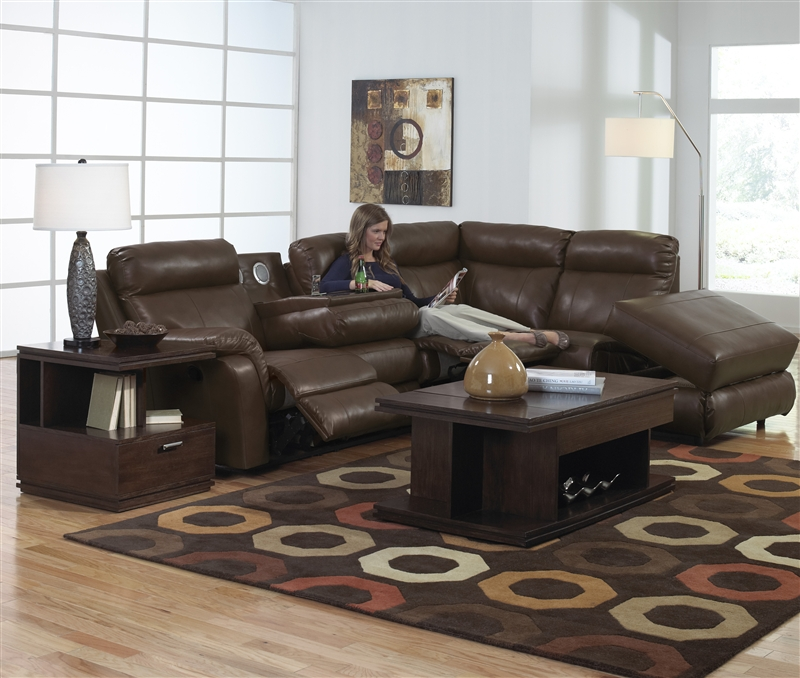 Chastain 2 Piece Espresso Leather Storage Entertainment Reclining Sectional by Catnapper - 4013-H & Chastain 2 Piece Espresso Leather Storage Entertainment Reclining ... islam-shia.org