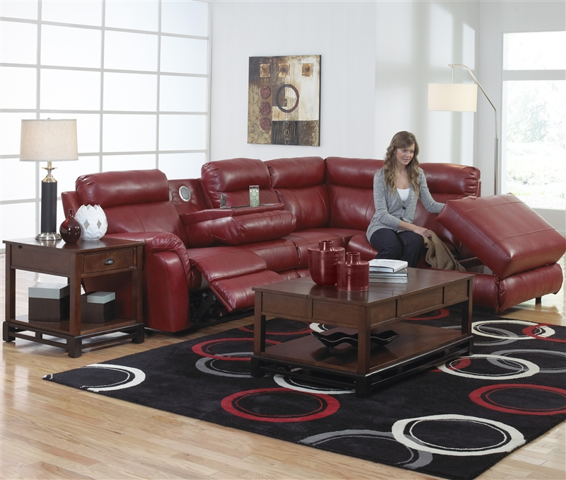 reclining sectional with console leather power sofa small sofas piece red storage entertainment