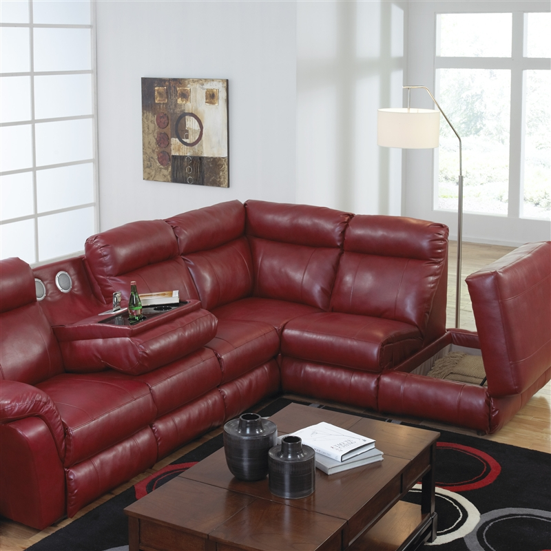 Chastain 2 Piece Red Leather Storage Entertainment Reclining Sectional by Catnapper - 4013-R & Chastain 2 Piece Red Leather Storage Entertainment Reclining ... islam-shia.org