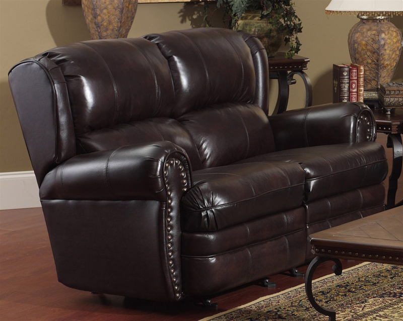 Buckingham Chocolate Leather Dual Reclining Love Seat By
