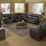 Carmine 3 Piece Lay Flat Reclining Sectional in Timber, Pebble or Smoke Leather by Catnapper - 415-SEC
