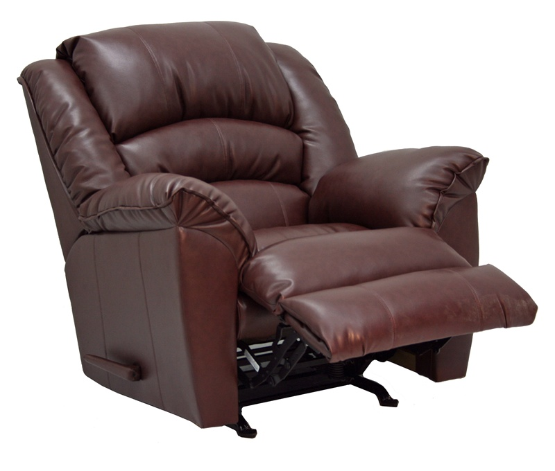 Arizona chaise rocker recliner in cherry leather for Catnapper jackpot chaise
