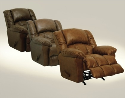 Winchester chaise rocker recliner in tobacco leather for Catnapper jackpot chaise
