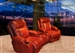 Geneva Theater Seating - 2 Red Leather Chairs By Catnapper -  Electric Power Recline