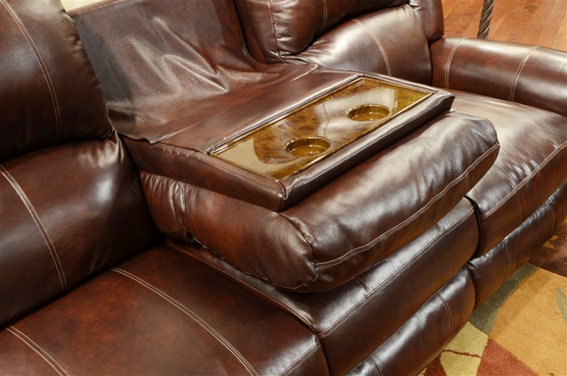 Livingston Leather Reclining Sofa With Drop Down Table By