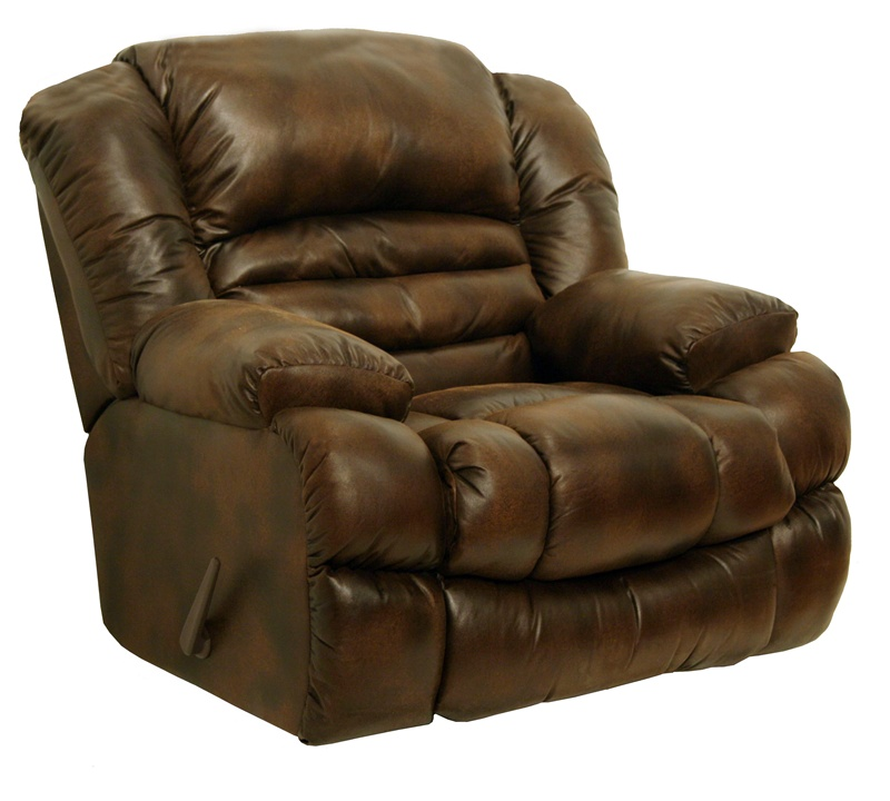 Sampson chaise rocker recliner in leather like wheat for Catnapper recliner chaise