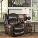 Jordan Lay Flat Recliner in Tobacco Leather by Catnapper - 4660-7