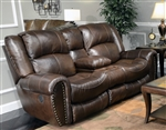 Jordan Lay Flat Reclining Console Loveseat in Tobacco Leather by Catnapper - 4669