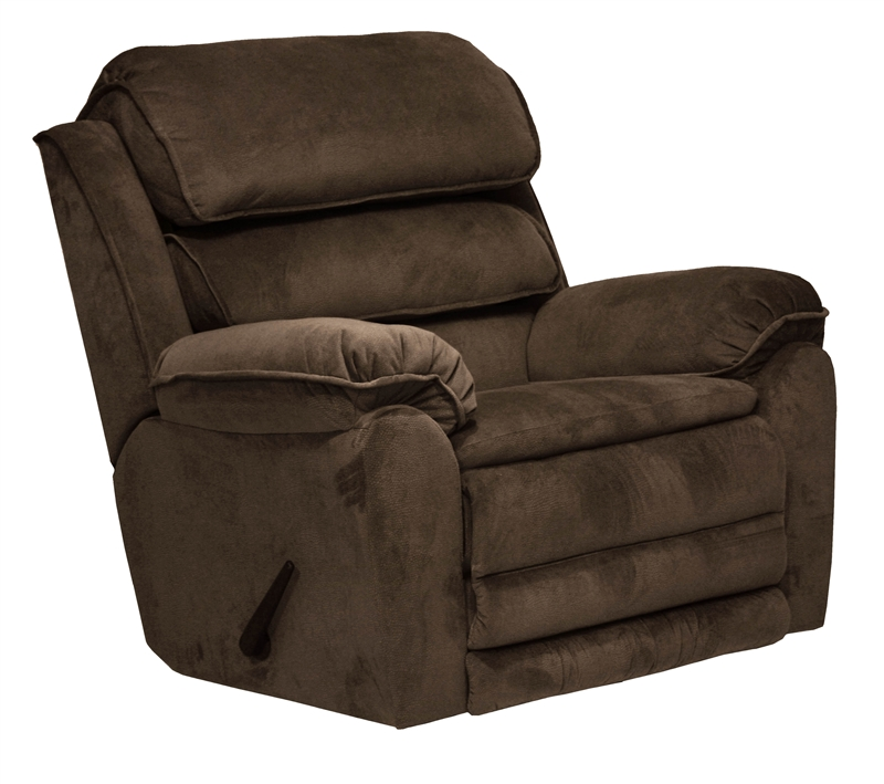 Vista chaise rocker recliner in chocolate fabric by for Chaise x rocker