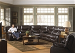 Arlington 3 Piece Reclining Sectional in Mahogany Leather by Catnapper - 477-3