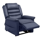 "Invincible ""Pow'r Lift"" Full Lay-Out Chaise Recliner in Deep Sapphire Bleach Cleanable Vinyl by Catnapper - 4832-S"