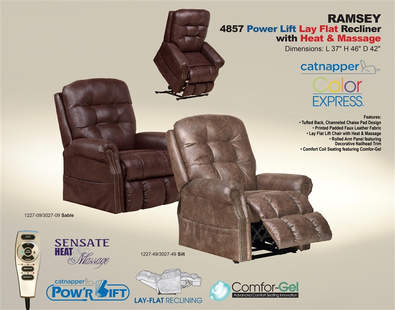 Ramsey Power Lift Lay Flat Recliner With Heat Amp Massage In