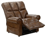 Stallworth POWER Lift Full Lay Out Chaise Recliner in Chestnut Leather by Catnapper - 4898-CH