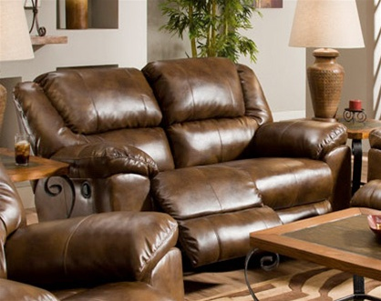 Transformer Toast Leather Rocking Reclining Loveseat By