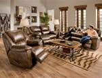 Transformer 2 Piece Toast Leather Reclining Sofa Set by Catnapper - 49445-S