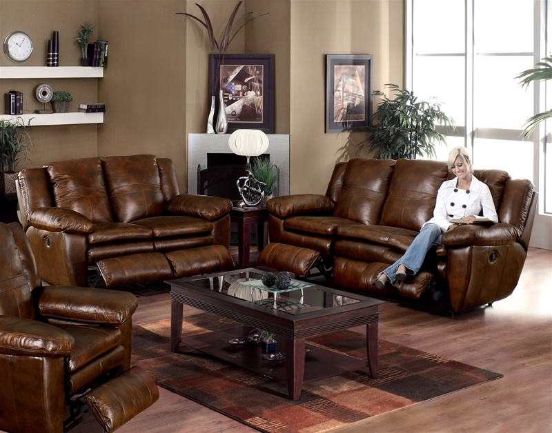 Sonoma 2 Piece Dual Reclining Sofa Set In Sable Color Leather By Catnapper 4971 S