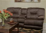 Noble POWER Lay Flat Reclining Console Loveseat in Espresso Fabric by Catnapper - 61369-E