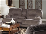 Noble POWER Lay Flat Reclining Console Loveseat in Slate Fabric by Catnapper - 61369-S