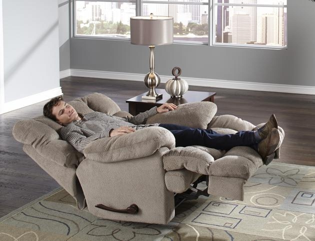 """concord power """"lay flat"""" recliner in """"smoke"""" color fabric by"""