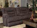Atlas POWER Reclining Console Loveseat in Sable Fabric by Catnapper - 61559
