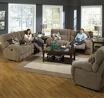 "Siesta 2 Piece POWER Lay Flat Reclining Set in ""Porcini"" Color Fabric by Catnapper - 61761-P-2"