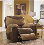 Portman POWER Chaise Rocker Recliner in Two Tone Chocolate and Saddle Fabric by Catnapper - 61960-2