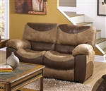 Portman POWER Reclining Loveseat in Two Tone Chocolate and Saddle Fabric by Catnapper - 61962
